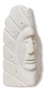 Escultura Rostro En Piedra Caliza - Blanca