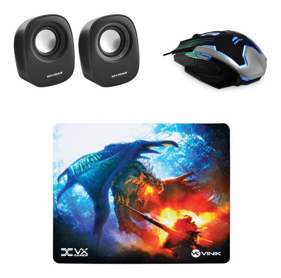 Mouse Gamer 2400dpi + Caixa De Som 6w + Mouse Pad
