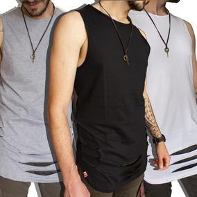 Kit 3 Regata Rasgada Destroyed Camiseta Swag Longline
