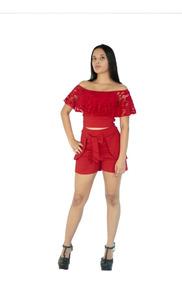 Kit 5 Conjuntocropped Com Renda E Shorts Com Laço