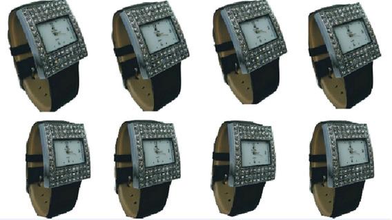 Kit C/ 8 Relógios Feminino Original Em Aço Pulseira De Couro