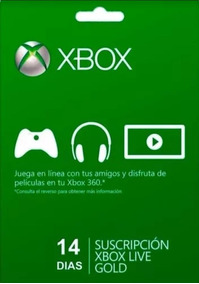 X-box Live 14 Dias/ Xbox 360 Xbox One Gift Card