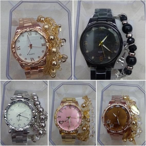 Relógio Analógico Feminino + Pulseira & Caixa - 05 Unidades