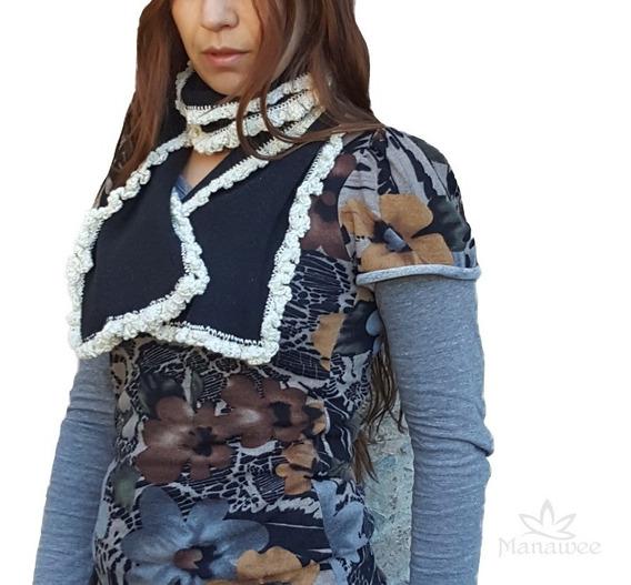 Bufanda Manawee Mujer Tejida Terminación Al Crochet