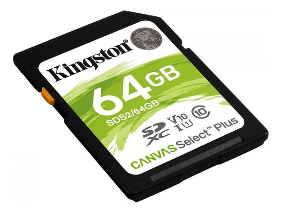 Cartão De Mem Cl 10 Kingston Sdxc 64gb 100r/85w Uhs-i Canvas