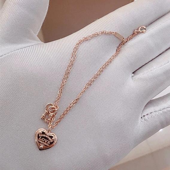 Pulseira Tiff Coração Ouro Rose Com Embalagem Bracelete