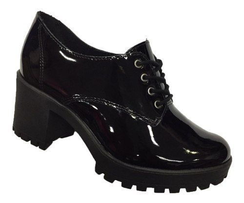 Sapato Ramarim Oxford Tratorado 1956103 Feminino Preto Vinho