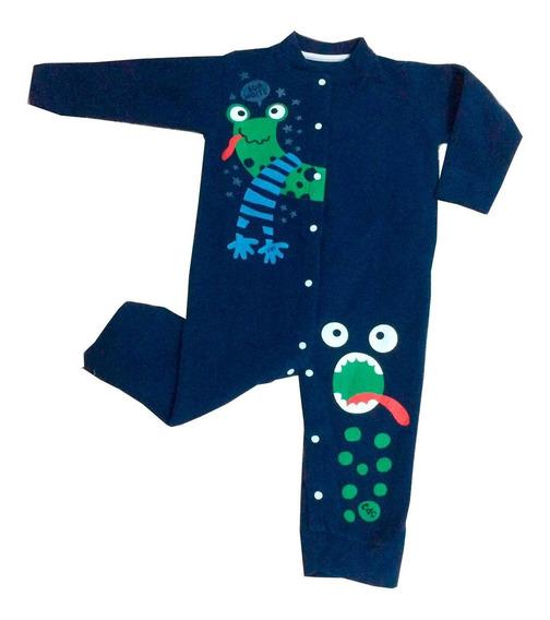 Macacão Soft Monstricol Cara De Criança Azul - 2 - Azul