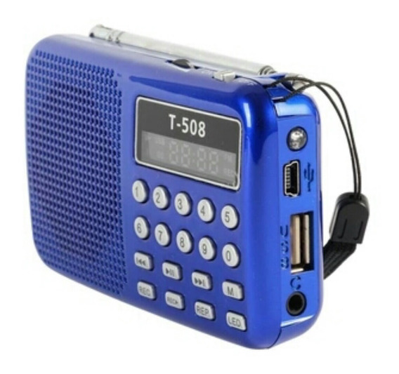 Mini Rádio Portátil T-508 Azul, Usb, Sd C/ Bateria