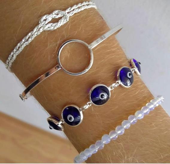 Kit Pulserismo Prata 925 Olho Grego Bracelete Feminino