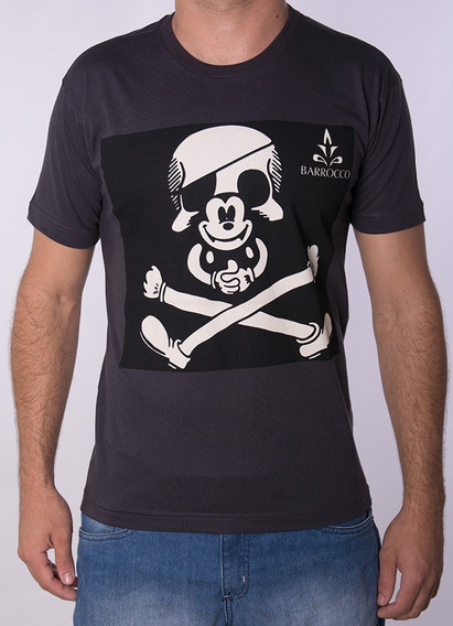 Camiseta Barrocco Caveira Mickey Preta 100% Algodão