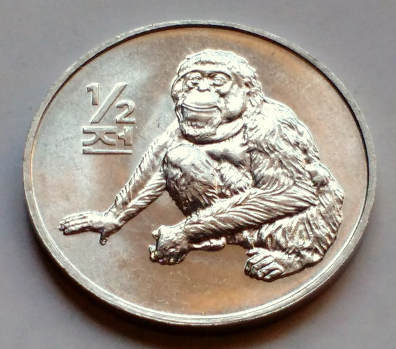 Moneda De Corea Del Norte, 1/2 Chon 2002. Sin Circular.
