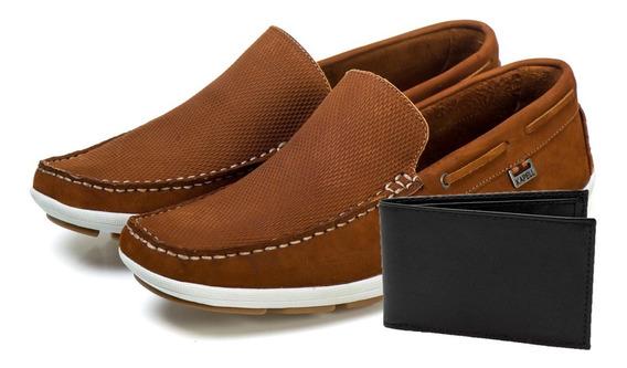 Sapato Com Carteira Mocassim Casual Social Adulto Masculino