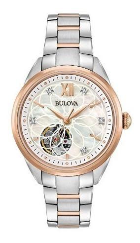 Relógio Feminino Bulova Automático Diamantes Madre-pérola