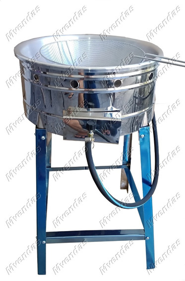 Fritadeira Inox A Gás Tacho P/ Batata Pastel 7,5l C/ Peneira