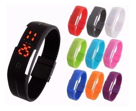 Kit 10 Relógio Led Digital Sport Bracelete Pulseira Silicone