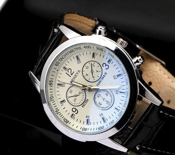 Relógio Pulseira De Couro Quartzo Militar Aço Inoxidável