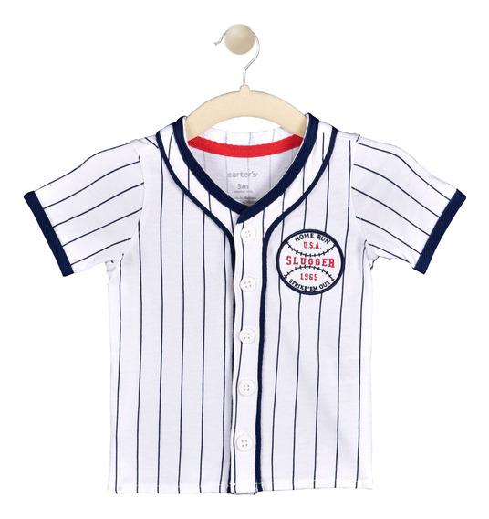Camisa Baseball Carters Blanco Niño 225i0090