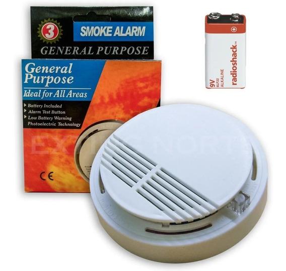 Pack 4 Alarma Sensor Detector De Humo Con Bateria 9v