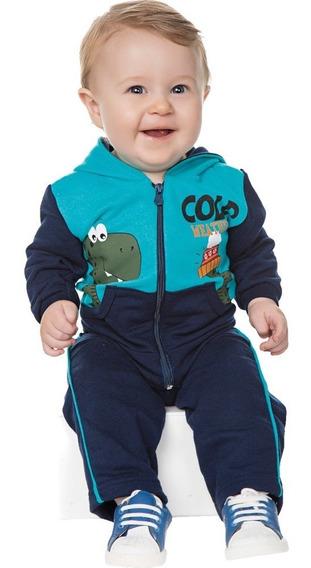 Conjunto Bebê Menino Inverno Moletom Calça E Casaco