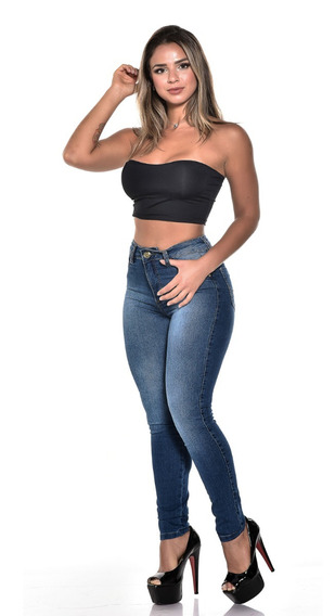 Kit 3 Calças Jeans Feminina Skiny Cós Cintura Média C Lycra