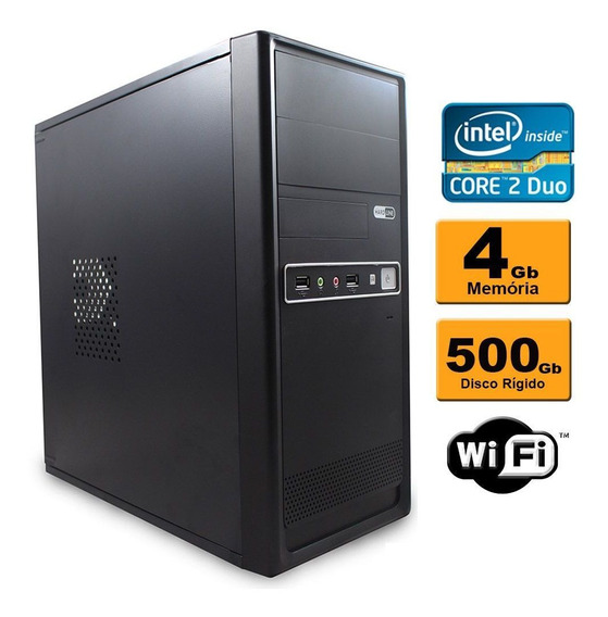Pc Cpu Core 2 Duo 4gb Ddr3 Hd 500gb Wi-fi Garantia