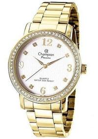 Relógio Feminino Champion Dourado Cn29427h Pedrinhas