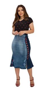 Saia Jeans Midi Destroyed Moda Evangelica Duo Color Botões