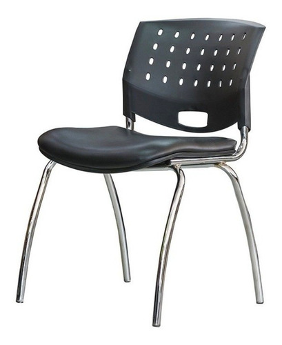 Imagen 1 de 1 de Silla de escritorio JMI Greta fija cromada  negra con tapizado de cuero sintético