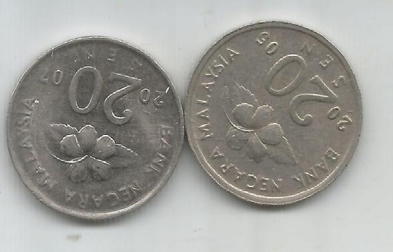 M 7174 Malaysia Lote 2 Monedas 20 Sen