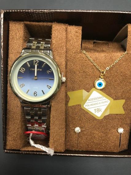 Kit Relógio Mondaine Feminino 99307lpmg + Colar E Brinco