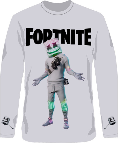 Remera Fortnite Marshmello Con Pico Manga Larga Sublimada