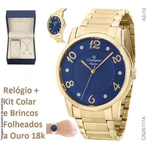 Relógio Champion Azul Feminino Cn26117k + Kit Brinde + Nf