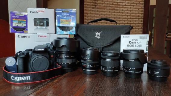 Kit Câmera Canon Eos Rebel T7i Dslr 18-55mm Is Stm + Lentes