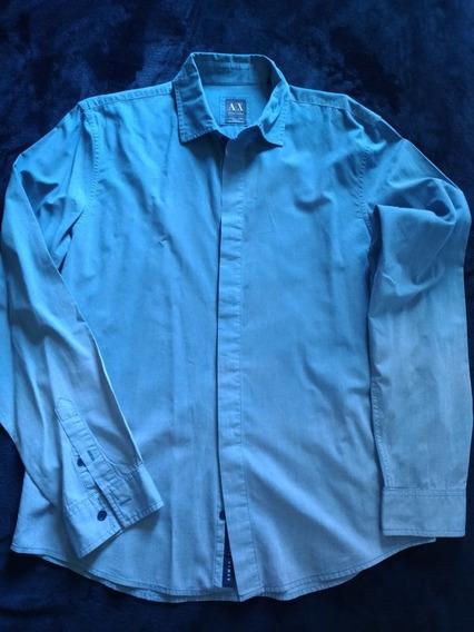 Camisa Armani - Manga Longa Azul Claro