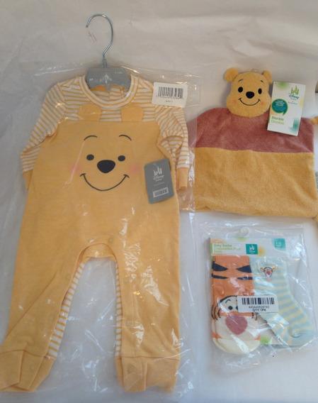 Kit 4 Pçs Macacão Pijama Bebe Urso Pooh -original Disney
