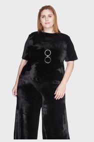 b6b3a33c32 Camiseta Veludo Plus Size Preto-48 50