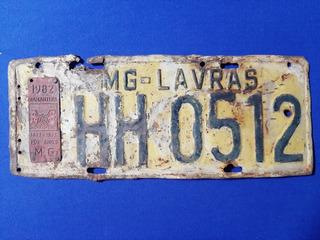 Placa Antiga Amarela Carro Lavras Minas Gerais