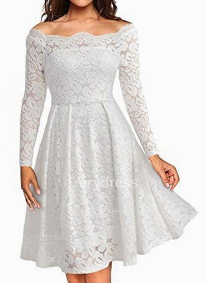 Vestidos De Fiesta Matrimonio Boda Civil Blanco Corto Grande