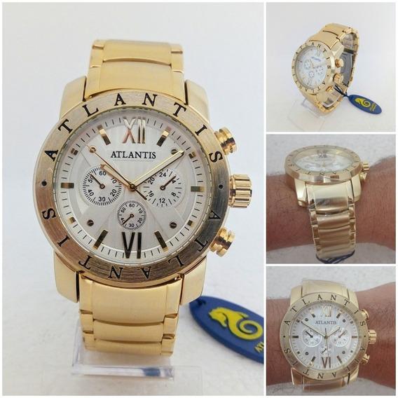 Relógio Masculino Atlantis Original Estilo Bugary Dourado