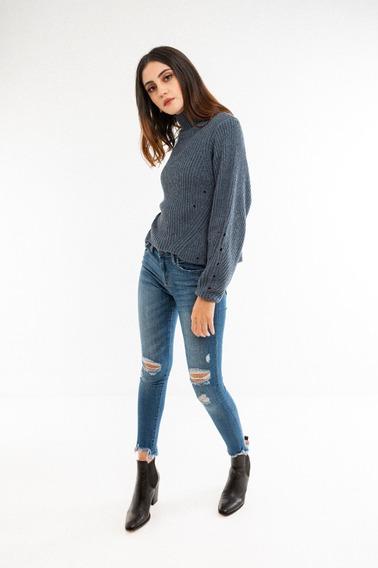 Suéter Con Cuello De Tortuga Azul Para Dama Nuevo