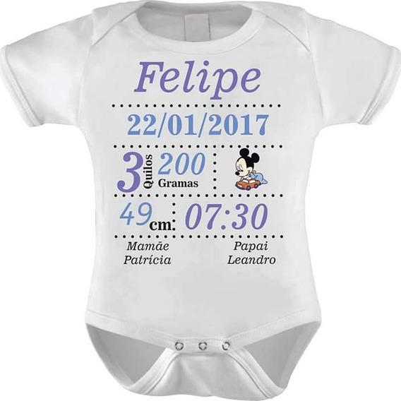 Body Dados Do Nascimento Bebe Personalizado