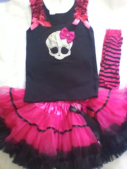 Disfraz Tutu Monster High Imagen Bordada Medias Regalo