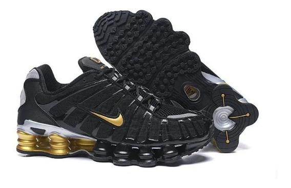Tenis Nike Shox 12 Molas Preto Dourado Neymar Jr Original