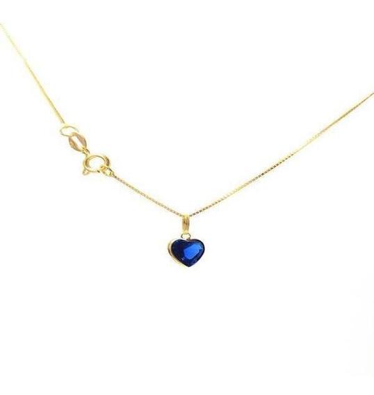 Correntinha Em Ouro 18k 45cm Veneziana Com Pingente Coração
