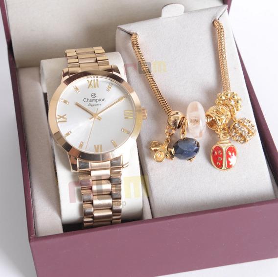 Relógio Champion Feminino Dourado Cn25163s + Kit Berloques