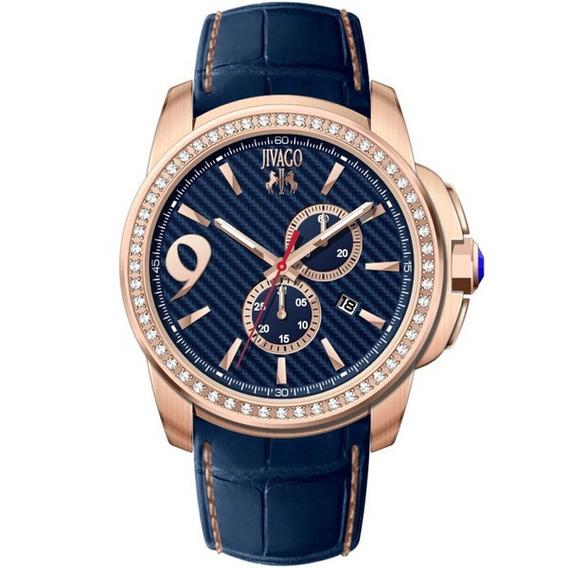 Reloj Jivago Gliese Cuero Azul Mineral 100m Hombre Jv1533