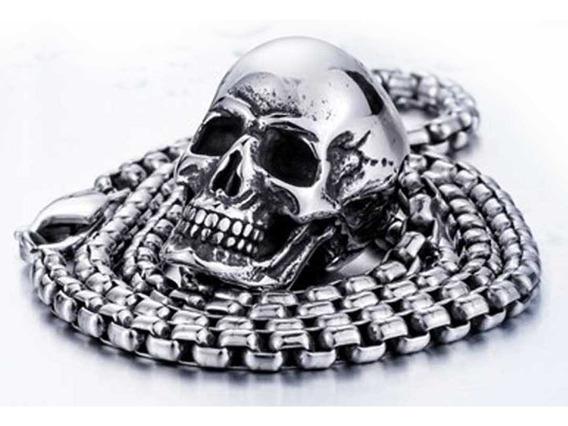 Corrente Cordao Pingente Caveira Aço Inoxidavel Skull Punk