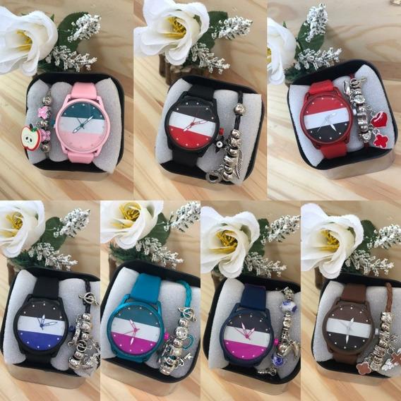Relógios Femininos Kit Com 10 Unids+ Caixa + Pulseira