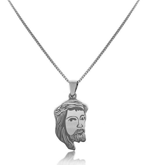 Gargantilha Masculina Jesus Grande Aço Inox